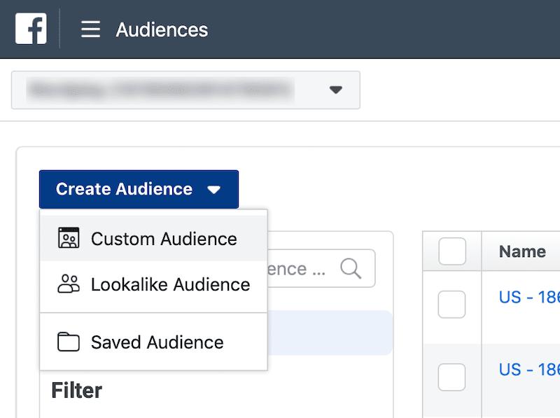 Facebook Custom Audience Step 1