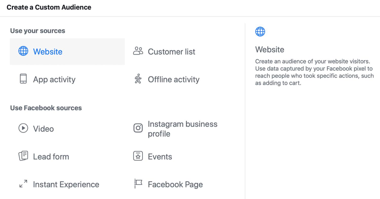 Facebook Custom Audience Step 2