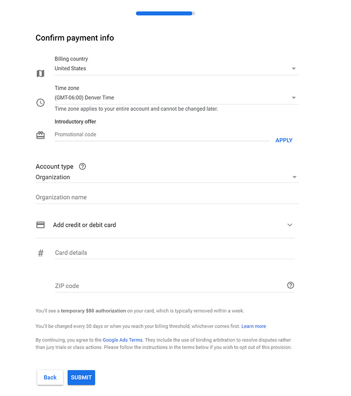 google ads billing setup